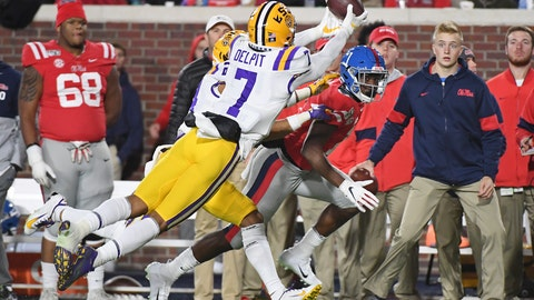 <p>               FILE - In this Nov. 16, 2019, file photo, LSU safety Grant Delpit (7) and cornerback Derek Stingley Jr. (24) break up a pass intended for Mississippi wide receiver Jonathan Mingo, right, during the first half of an NCAA college football game in Oxford, Miss. Delpit is a possible pick in the NFL Draft which runs Thursday, April 23, 2020, thru Saturday, April 25. (AP Photo/Thomas Graning, File)             </p>
