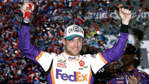 <p>               FILE - In this  Monday, Feb. 17, 2020 file photo,Denny Hamlin celebrates in Victory Lane after winning the NASCAR Daytona 500 auto race at Daytona International Speedway in Daytona Beach, Fla. NASCAR eased off the brake in the real sports world brought to a sudden halt by the coronavirus and introduced the country to iRacing with some of the sports biggest stars. Hamlin, the three-time Daytona 500 winner, beat Dale Earnhardt Jr. off the final corner Sunday, March 22, 2020 at virtual Homestead-Miami Speedway to win the bizarre spectacle.   (AP Photo/John Raoux, File)             </p>