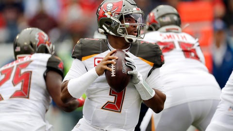 """<p>               FILE - In this Oct. 27, 2019, file photo, Tampa Bay Buccaneers quarterback Jameis Winston (3) passes against the Tennessee Titans before an NFL football game Sunday, Oct. 27, 2019, in Nashville, Tenn. A person familiar with the situation says the Saints and Winston are working on a contract proposal to make the former Buccaneers starter a backup to Drew Brees in New Orleans. The person said Sunday, April 26, 2020, that the Saints and Winston are in """"advanced"""" talks to get a deal done. The person spoke to The Associated Press on condition of anonymity because negotiations were ongoing. (AP Photo/James Kenney, File)             </p>"""
