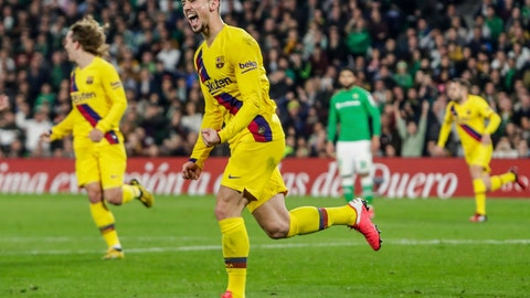 <p>               Barcelona's Clement Lenglet celebrates after scoring during La Liga soccer match between Betis and Barcelona at the Benito Villamarin stadium in Seville, Spain, Sunday, Feb. 9, 2020. (AP Photo/Miguel Morenatti)             </p>