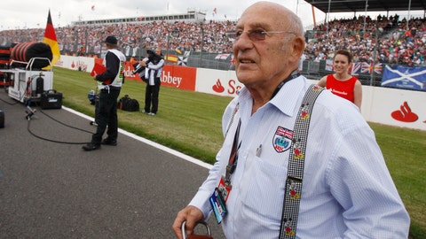 <p>               FILE - In this file photo dated Sunday, June 21 2009, Stirling Moss, the legendary British Racing driver attends the British Formula One Grand Prix at the Silverstone racetrack, in Silverstone, England.  Stirling Moss has died at the age of 90, according to an announcement Sunday April 12, 2020, from his family. (AP Photo/Luca Bruno, FILE)             </p>