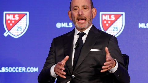 <p>               Major League Soccer Commissioner Don Garber speaks during the Major League Soccer 25th Season kickoff event in New York, Wednesday, Feb. 26, 2020. (AP Photo/Richard Drew)             </p>