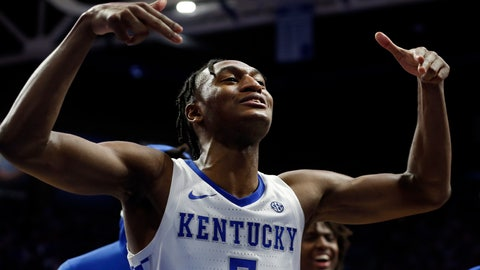 <p>               FILE - In this Dec. 28, 2019, file photo, Kentucky's Immanuel Quickley celebrates after an overtime win against Louisville in an NCAA college basketball game in Lexington, Ky. Quickley was selected to the Associated Press All-SEC first team announced Tuesday, March 10, 2020. (AP Photo/James Crisp, File)             </p>