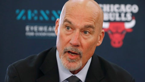 <p>               FILE - In this June 24, 2019, file photo, Chicago Bulls executive vice president of basketball operations John Paxson responds to a question about the team's two draft picks during a news conference in Chicago. The Bulls hired Denver Nuggets general manager Arturas Karnisovas to run their basketball operation, a person familiar with the situation said Thursday night, April 9, 2020. The person, who confirmed reports by several outlets, spoke on the condition of anonymity because the move has not been announced. Paxson was expected to move into an advisory role. (AP Photo/Charles Rex Arbogast, File)             </p>