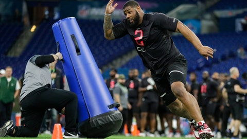 <p>               FILE - In this Feb. 29, 2020, file photo, TCU defensive lineman Ross Blacklock runs a drill at the NFL football scouting combine in Indianapolis. Blacklock was selected by the Houston Texans in the second round of the NFL football draft Friday, April 24, 2020. (AP Photo/Michael Conroy)             </p>