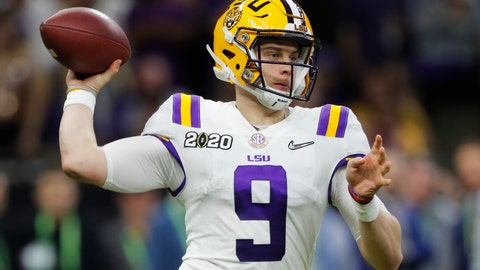 <p>               LSU quarterback Joe Burrow passes against Clemson during the second half of a NCAA College Football Playoff national championship game Monday, Jan. 13, 2020, in New Orleans. (AP Photo/Gerald Herbert)             </p>