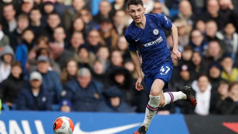 <p>               Chelsea's Billy Gilmour controls the ball during the English Premier League soccer match between Chelsea and Everton at Stamford Bridge stadium in London, Sunday, March 8, 2020. (AP Photo/Matt Dunham)             </p>