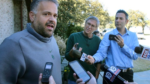 <p>               FILE - In this Jan. 7, 2020, file photo, former Baylor head football coach Matt Rhule speaks to reporters outside his home in Waco, Texas. In a normal year, new Carolina Panthers NFL football head coach Matt Rhule would have greeted many of the team's players for the first time with a handshake Monday for the start of the team's offseason workout program. But nothing is normal in the days of a global pandemic. (Jerry Larson/Waco Tribune-Herald via AP, File)             </p>