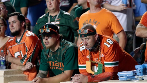<p>               FILE - In this Saturday, Sept. 7, 2019, file photo, Miami fans show their displeasure after a failed drive during the first half of an NCAA college football game against North Carolina in Chapel Hill, N.C., a game in which Miami lost 28-25. Heading into the final four rounds of the NFL football draft, Saturday, April 25, 2020, Miami will look to extend a streak of having at least one player drafted that started in 1976. (AP Photo/Chris Seward, File)             </p>