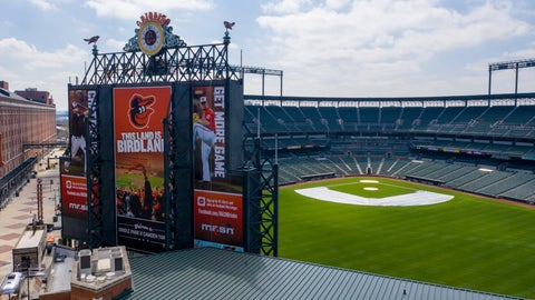 <p>               In this aerial photo, Oriole Park at Camden Yards is closed on what would've been Opening Day, Thursday March 26, 2020, in Baltimore, Md. The Orioles were slated to host the New York Yankees at the park, but the season has been delayed due to the coronavirus outbreak. (AP Photo/Steve Helber)             </p>