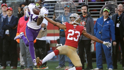 <p>               Minnesota Vikings wide receiver Stefon Diggs (14) catches a touchdown pass in front of San Francisco 49ers cornerback Ahkello Witherspoon (23) during the first half of an NFL divisional playoff football game, Saturday, Jan. 11, 2020, in Santa Clara, Calif. (AP Photo/Marcio Jose Sanchez)             </p>