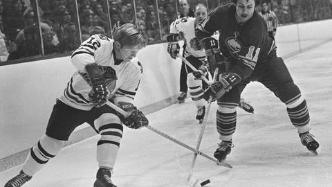 <p>               FILE - In this Dec. 15, 1971, file photo, Chicago Blackhawks' Pat Stapleton (12) battles for the puck with Buffalo Sabres' Gilbert Perreault  (11) during an NHL hockey game at Chicago. Stapleton, a longtime NHL defenseman who famously kept an air of mystery over whether he possessed the puck from the winning goal of the 1972 Summit Series, died Wednesday night, April 8, 2020. He was 79.  (AP Photo/Fred Jewell, File)             </p>