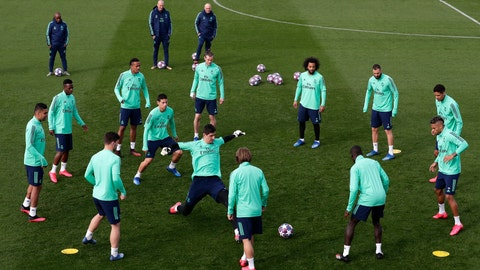<p>               Real Madrid players attend a training session at the team's Valdebebas training ground in Madrid, Spain, Tuesday, Feb. 25, 2020. Real Madrid will play against Manchester City in a Champions League soccer match on Wednesday. (AP Photo/Manu Fernandez)             </p>