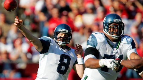 <p>               FILE - In this Nov. 20, 2005, file photo, Seattle Seahawks quarterback Matt Hasselbeck (8) throws downfield while protected by lineman Walter Jones (71) during the first half of an NFL football game against the San Francisco 49ers in San Francisco. Three former first-round picks by Seattle are already in the Pro Football Hall of Fame, with a fourth set to be inducted later this year. With respect to safety Kenny Easley (No. 4 in 1981), the late Cortez Kennedy (No. 3 in 1990) and Steve Hutchinson (No. 17 in 2001), the nod goes to left tackle Jones. While Easley, Kennedy and Hutchinson were dominant players at their positions, Jones is in the conversation as the best left tackle of all-time. Jones was the second of Seattle's two first-round picks in 1997, selected at No. 6 overall. (AP Photo/Jeff Chiu, File)             </p>