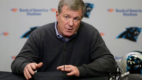 <p>               FILE - In this April 17, 2019, file photo, Carolina Panthers general manager Marty Hurney speaks to the media in Charlotte, N.C. The 2020 NFL Draft is April 23-25. (AP Photo/Chuck Burton, File)             </p>