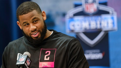 <p>               FILE - In this Feb. 27, 2020, file photo, TCU defensive lineman Ross Blacklock speaks during a press conference at the NFL football scouting combine in Indianapolis. Blacklock is a possible pick in the NFL Draft which runs Thursday, April 23, 2020, thru Saturday, April 25. (AP Photo/AJ Mast, Fle)             </p>