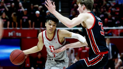 <p>               FILE - In this Feb. 6, 2020, file photo, Stanford guard Tyrell Terry (3) drives as Utah center Branden Carlson (35) defends in the first half during an NCAA college basketball game in Salt Lake City.  Terry has declared for the NBA draft. Terry announced his decision Monday, April 6, 2020, to enter the draft without forfeiting his collegiate eligibility. He could still withdraw from consideration before June 3 and return to school. That deadline could be extended because the NBA season is on hold due to the new coronavirus. (AP Photo/Rick Bowmer, File)             </p>