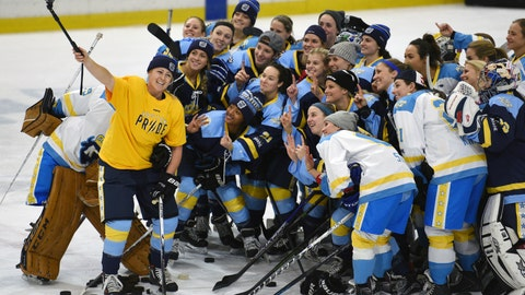 "<p>               FILE - In this Jan. 24, 2016, file photo, National Women's Hockey League All-Star players take time for a ""selfie"" before the start of an all-star game at Harborcenter in Buffalo, N.Y. A person with direct knowledge of the plans tells The Associated Press the U.S.-based National Women's Hockey League is in the process of establishing an expansion franchise in the Toronto area, Tuesday, April 14, 2020. (AP Photo/Gary Wiepert, File)             </p>"