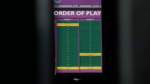 <p>               An order of play sign in the grounds of Wimbledon as it is announced that the Wimbledon tennis Championships 2020 has been cancelled due to public health concerns linked to the coronavirus, in London, Wednesday, April 1, 2020. The new coronavirus causes mild or moderate symptoms for most people, but for some, especially older adults and people with existing health problems, it can cause more severe illness or death.(AP Photo/Kirsty Wigglesworth)             </p>