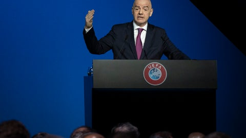 <p>               FIFA President Gianni Infantino addresses a meeting of European soccer leaders at the congress of the UEFA governing body in Amsterdam's Beurs van Berlage, Netherlands, Tuesday, March 3, 2020. (AP Photo/Peter Dejong)             </p>