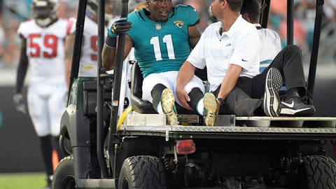 <p>               FILE - In this Aug. 25, 2018, file photo, Jacksonville Jaguars wide receiver Marqise Lee (11) leaves the field on a medical cart after he was injured during the first half of an NFL preseason football game in Jacksonville, Fla. The Jaguars waived oft-injured receiver Marqise Lee on Monday, April 20, 2020, to create nearly $5 million in salary cap space. (AP Photo/Phelan M. Ebenhack, File)             </p>