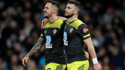<p>               Southampton's Shane Long, right, celebrates with Danny Ings after scoring his side's first goal during the English FA Cup fourth round replay soccer match between Tottenham Hotspur and Southampton at the Tottenham Hotspur Stadium in London, Wednesday, Feb. 5, 2020. (AP Photo/Kirsty Wigglesworth)             </p>