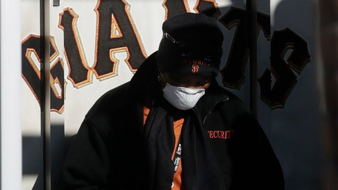 <p>               Security guard LeJuana Evans wears a mask while working a gate at Oracle Park, the San Francisco Giants' baseball ballpark, in San Francisco, March 26, 2020. (AP Photo/Jeff Chiu)             </p>
