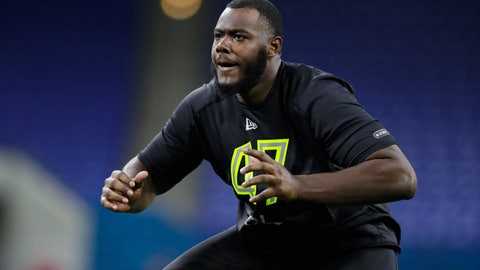 <p>               FILE - In this Feb. 28, 2020, file photo, Georgia offensive lineman Andrew Thomas runs a drill at the NFL football scouting combine in Indianapolis. The New York Giants selected Thomas with the fourth pick in the NFL draft Thursday, April 23. (AP Photo/Michael Conroy, File)             </p>