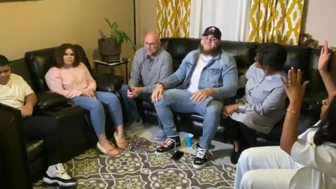 <p>               In this still image from video provided by the NFL, Jedrick Wills, wearing cap, smiles during the NFL football draft Thursday, April 23, 2020. The Cleveland Browns selected Wills in the first round of the NFL draft. (NFL via AP)             </p>