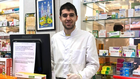 <p>               In this photo taken on March 18, 2020, soccer player Toni Dovale poses while working in his family pharmacy in A Coruna, Spain. Dovale, a former Sporting Kansas City and Celta Vigo player who came through Barcelona's famed youth academy, is back at work in his home country while soccer competitions remain on hold because of the COVID-19 virus. Dovale is making calls to try to guarantee there are enough protective masks, gloves and other medical supplies that can help slow the spread of the virus in hard-hit Spain.  The COVID-19 coronavirus causes mild or moderate symptoms for most people, but for some, especially older adults and people with existing health problems, it can cause more severe illness or death. (Photo via AP)             </p>