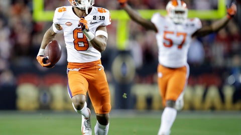 <p>               FILE - In this Jan. 7, 2019, file photo, Clemson's A.J. Terrell intercepts a pass for a touchdown during the first half the NCAA college football playoff championship game against Alabama in Santa Clara, Calif. Terrell was chosen by the Atlanta Falcons in the first round of the NFL draft. (AP Photo/Ben Margot, File)             </p>