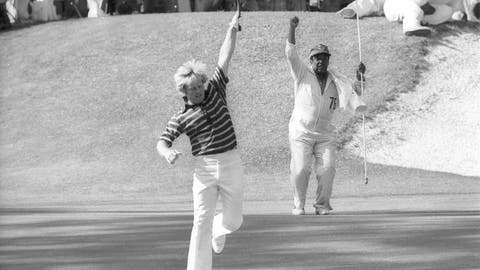<p>               FILE - In this April 13, 1975, file photo, Jack Nicklaus, foreground, and his caddie celebrate a birdie putt on the 16th hole at Augusta National en route to Nicklaus' unprecedented fifth Masters victory in Augusta, Ga. This Masters was voted fourth-best of all time by a panel of voters. (AP Photo/Harry Cabluck, File)             </p>