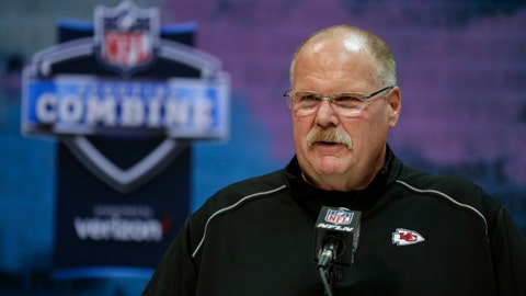 <p>               FILE - In this Feb. 25, 2020, file photo, Kansas City Chiefs head coach Andy Reid speaks during a press conference at the NFL football scouting combine in Indianapolis. The NFL Draft is April 23-25. (AP Photo/Michael Conroy, File)             </p>
