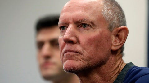 <p>               Ron Roenicke, right, speaks as Red Sox Chief Baseball Officer Chaim Bloom looks on after being after being named interim of the Boston Red Sox baseball team Tuesday, Feb. 11, 2020, in Fort Myers, Fla. at left. (AP Photo/John Bazemore)             </p>