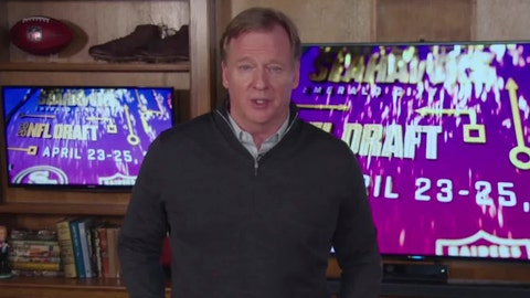 <p>               In this still image from video provided by the NFL, Commissioner Roger Goodell speaks during the NFL football draft, Friday, April 24, 2020. (NFL via AP)             </p>