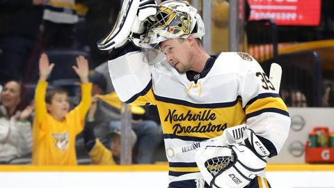 <p>               FILE - In this Feb. 16, 2020, file photo, Nashville Predators goaltender Pekka Rinne, of Finland, skates back to the net during the third period of the team's NHL hockey game against the St. Louis Blues in Nashville, Tenn. The NHL's pause has the clock ticking on the career of a former Vezina Trophy winner and four-time finalist with Rinne turning 38 in November. (AP Photo/Mark Humphrey, File)             </p>