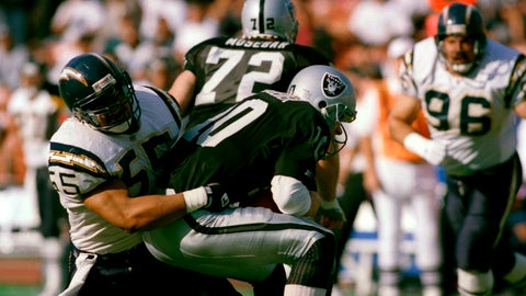 <p>               FILE - In this Dec. 20, 1992, file photo, Los Angeles Raiders quarterback Jay Schroeder is sacked for a 5-yard loss by San Diego Charger inside linebacker Junior Seau (55) during the second quarter of an NFL football game in Los Angeles. San Diego went for the hometown pick in 1990, selecting Oceanside native and Southern California standout Seau fifth overall. He ended up becoming one of the most popular players in franchise history with 12 consecutive Pro Bowl appearances. (AP Photo/Mark Terrill, File)             </p>