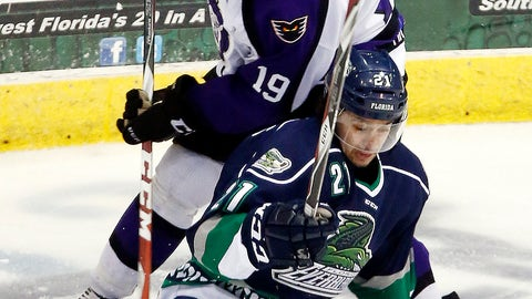 <p>               FILE - In this April 1, 2015, file photo, Florida Everblades' Spencer Pommells, bottom, is pressured by Reading Royals' Ian Watters (19) duirng the third period of an ECHL hockey game in Estero, Fla. The ECHL season was canceled because of the coronavirus pandemic. (AP Photo/Naples Daily News, Core Perrine)             </p>