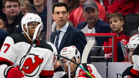<p>               FILE - In this Jan. 16, 2020, file photo, New Jersey Devils interim coach Alain Nasreddine watches during the second period of the team's NHL hockey game against the Washington Capitals in Washington. Nasreddine is focusing on a having his team ready to play should the NHL resume games after a pause caused by coronavirus pandemic rather than whether he will have a job next year. (AP Photo/Al Drago, File)             </p>