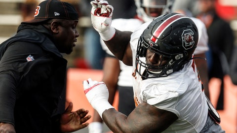 <p>               South Carolina's Javon Kinlaw of the South squad runs drills during practice for the Senior Bowl Wednesday, Jan. 22, 2020, in Mobile, Ala. (AP Photo/Butch Dill)             </p>