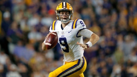 <p>               FILE - In this Nov. 30, 2019, file photo, LSU quarterback Joe Burrow (9) scrambles during the first half of an NCAA college football game against Texas A&M in Baton Rouge, La. Burrow is a posible first round pick in the NFL Draft Thursday night, April 23, 2020. (AP Photo/Gerald Herbert, File)             </p>