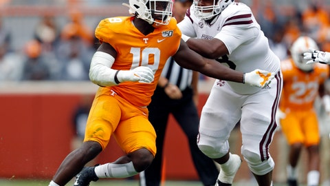 <p>               FILE - In this Oct. 12, 2019, file photo, Tennessee linebacker Darrell Taylor (19) plays against Mississippi State in the second half of an NCAA college football game in Knoxville, Tenn. Taylor was selected by the Seattle Seahawks in the second round of the NFL football draft Friday, April 24, 2020. (AP Photo/Wade Payne, File)             </p>