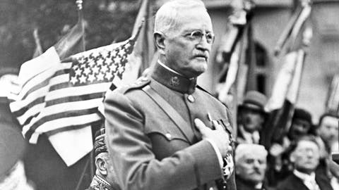 <p>               FILE - In this Sept. 15, 1935, file photo, General John J. Pershing makes a speech during the ceremony of planting an oak tree named after him to celebrate his 75th birthday and the 17th anniversary of the battle of St Mihiel, in St Mihiel, France. In the aftermath of World War I, 14 countries competed in the Inter-Allied Games in 1919, in a stadium named for Pershing, commander of the American Expeditionary Force in Europe. (AP Photo/File)             </p>