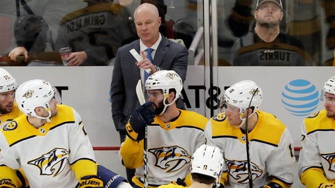 <p>               FILE - In this Jan. 9, 2020, file photo, Nashville Predators head coach John Hynes, center top, talks to his team during the first period of an NHL hockey game against the Chicago Blackhawks in Chicago. Hynes has only been head coach of the Predators since Jan. 7, so he is trying to make up for some lost time with the NHL paused for the coronavirus pandemic and also make sure they are ready whenever hockey resumes. (AP Photo/Nam Y. Huh, File)             </p>