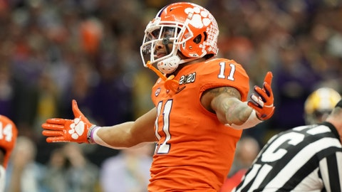 Jan 13, 2020; New Orleans, Louisiana, USA; Clemson Tigers linebacker Isaiah Simmons (11) in the College Football Playoff national championship game at Mercedes-Benz Superdome. Mandatory Credit: John David Mercer-USA TODAY Sports