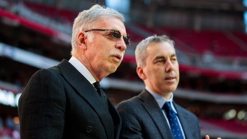 Dec 1, 2019; Glendale, AZ, USA; Los Angeles Rams owner Stan Kroenke (left) with chief operating officer Kevin Demoff against the Arizona Cardinals at State Farm Stadium. Mandatory Credit: Mark J. Rebilas-USA TODAY Sports