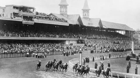 <p>               FILE - In this June 9, 1945, file photo, Hoop Jr. leads by a length during the 71st running of the Kentucky Derby horse race at Churchill Downs in Louisville, Ky. This year is the first time the Derby won't be held on the first Saturday in May since 1945, when it was run June 9. Starting in 1930, the term Triple Crown became popular in referring to the three races and since 1931, the Derby, Preakness and Belmont have been run in that order. It's possible that the Derby could be the final of the three races this year. (AP Photo/File)             </p>