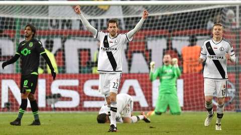 <p>               FILE - In this Wednesday, Dec. 7, 2016 file photo, Legia's Bartosz Bereszynski, centre, Michal Kopczynski, right, celebrate their victory during the Champions League group stage soccer match between Legia Warsaw and Sporting Lisbon, at Stadion Wojska Polskiego, in Warsaw, Poland. Soccer fans worldwide are hungry for live games to watch and the Ekstraklasa league in Poland is ready to show them. Germany leads Europe's top-ranked leagues to restart on Saturday, May 16, 2020 after the shutdown. Poland is set to be an early follower on Friday, May 29 with a digital strategy to reach new viewers. Global attention on games in South Korea this month suggests a demand for soccer that returns during the pandemic. (AP Photo/Alik Keplicz, file)             </p>