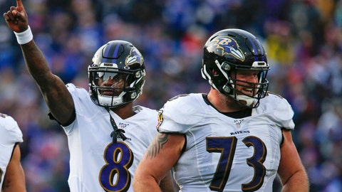 <p>               FILE - In this Dec. 8, 2019, file photo, Baltimore Ravens quarterback Lamar Jackson (8) celebrates a 61-yard touchdown play as he walks off the field with offensive guard Marshal Yanda (73) during the second half of an NFL football game against the Buffalo Bills in Orchard Park, N.Y. In their quest to keep quarterback Lamar Jackson upright and running, the Baltimore Ravens have put a priority on fortifying their offensive line following the retirement of eight-time Pro Bowl guard Marshal Yanda. (AP Photo/John Munson, File)             </p>