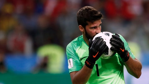 <p>               FILE - In this Wednesday, June 27, 2018 file photo, Brazil goalkeeper Alisson kisses the ball after makes a save during their World Cup soccer match against Serbia. There will be no more kissing the ball for good luck in South American soccer. Forget about exchanging jerseys and even spitting or blowing noses on the field also. The soccer governing body of soccer in the region has released a series of specific regulations amid the coronavirus pandemic to protect everyone's health when the Copa Libertadores eventually resumes. There is no date set for when the tournament will restart. (AP Photo/Matthias Schrader)             </p>
